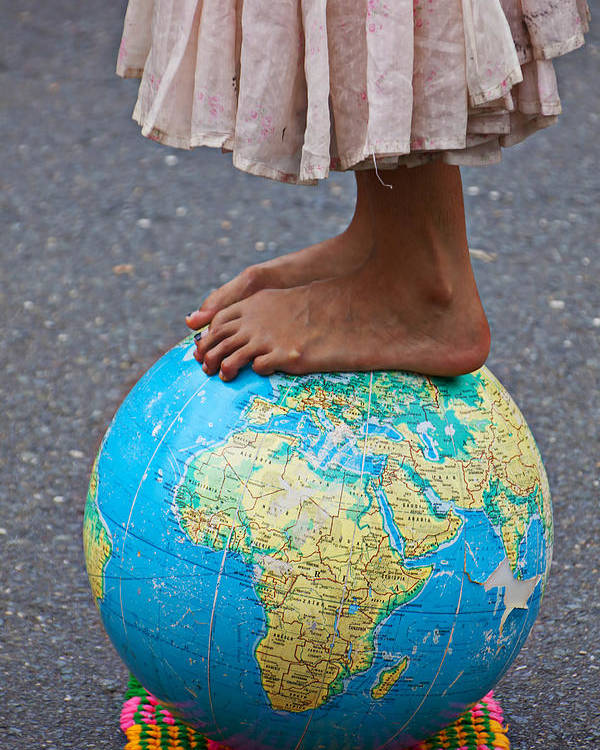 Foot Poster featuring the photograph Young Woman Standing On Globe by Garry Gay