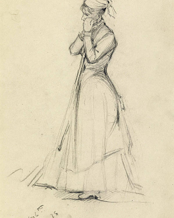 Dennis Miller Bunker Poster featuring the drawing Young Woman With A Broom by Dennis Miller Bunker