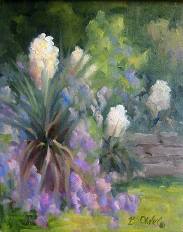 Yucca Poster featuring the painting Yucca And Wisteria by Bunny Oliver