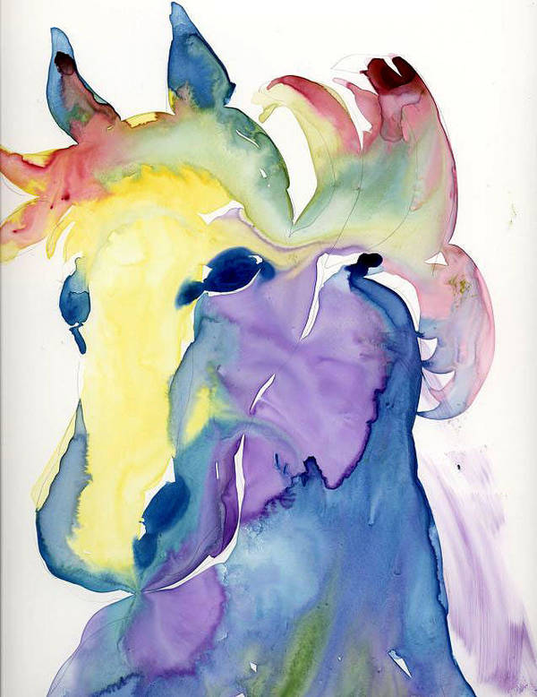 Horse Poster featuring the painting Yupo Horse by Janet Doggett