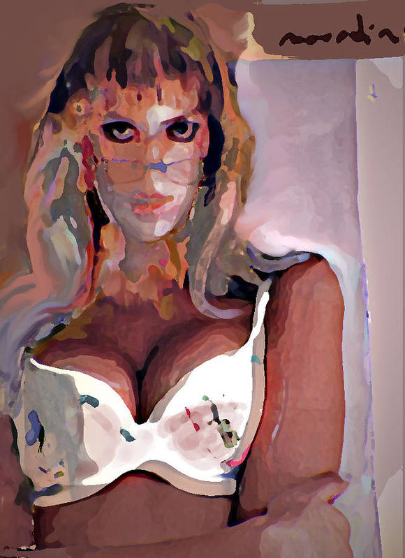 Portrait Poster featuring the mixed media Yvonne by Noredin Morgan