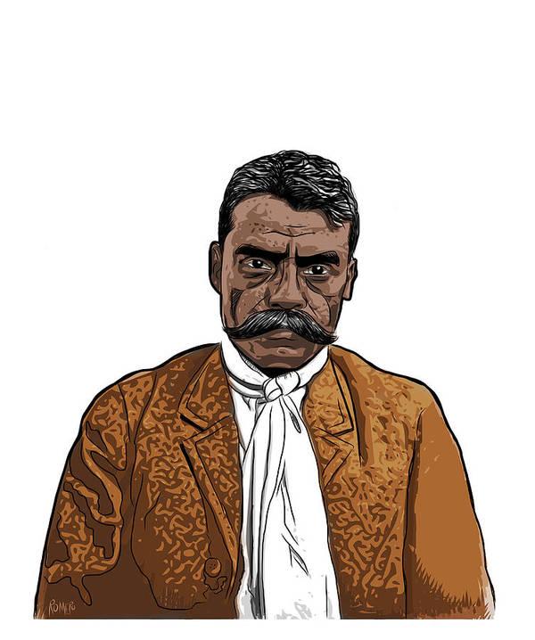 Digital Art Poster featuring the digital art Zapata by Antonio Romero