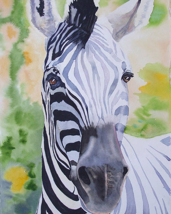 Zebra Poster featuring the painting Zebra Crossing by Ally Benbrook