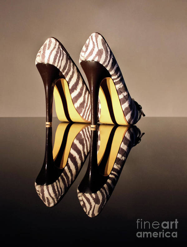 Zebra Print Shoes Poster featuring the photograph Zebra Print Stiletto by Terri Waters