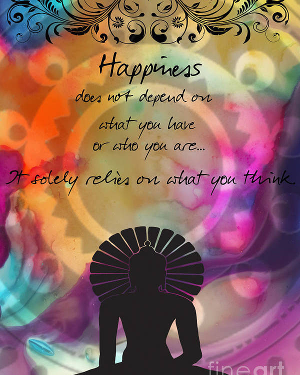 Zen Art Inspirational Buddha Quotes Happiness Poster by ...