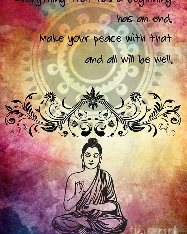Zen Art Inspirational Buddha Quotes Poster By Justyna Jbjart