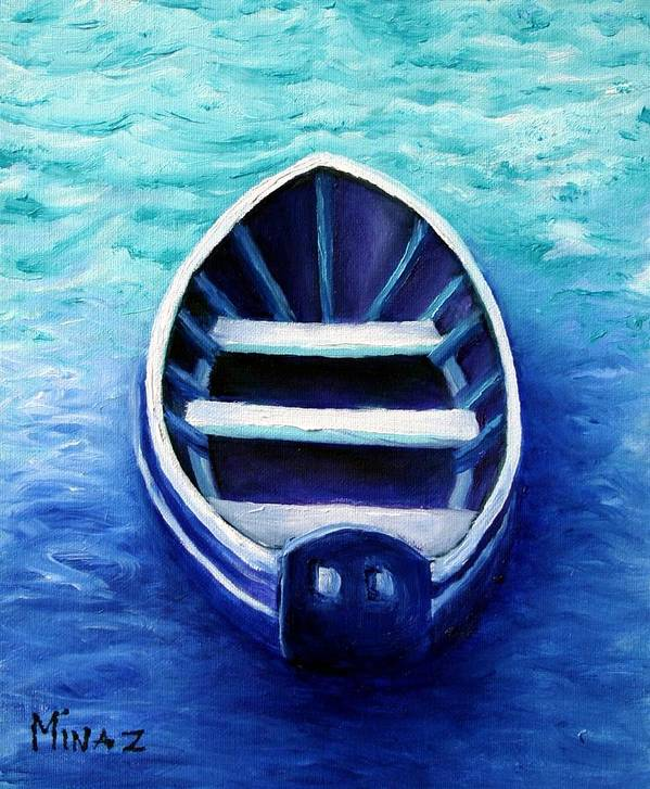 Boat Poster featuring the painting Zen Boat by Minaz Jantz