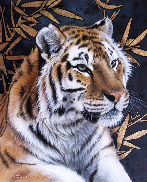 Tiger Poster featuring the painting Zen Too by Sandi Baker