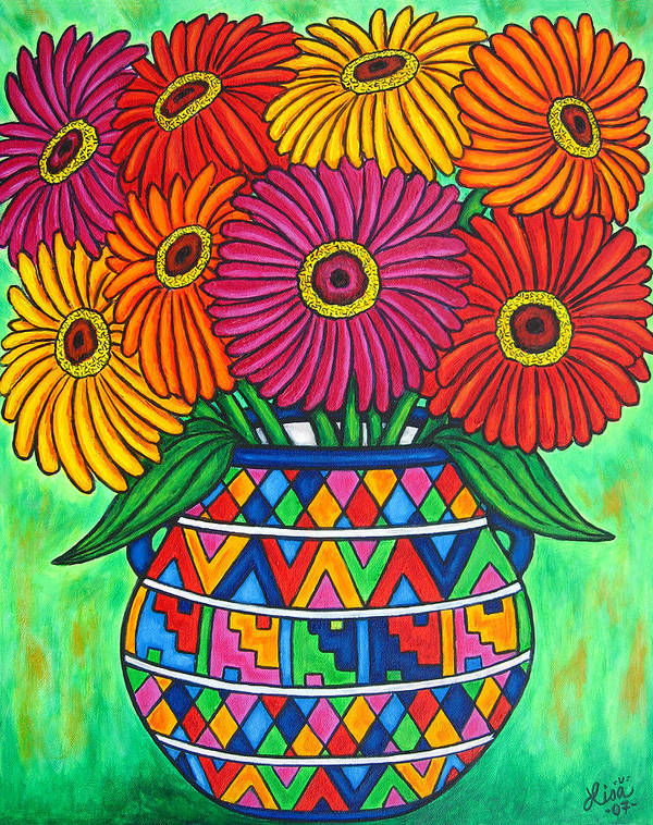 Zinnia Poster featuring the painting Zinnia Fiesta by Lisa Lorenz