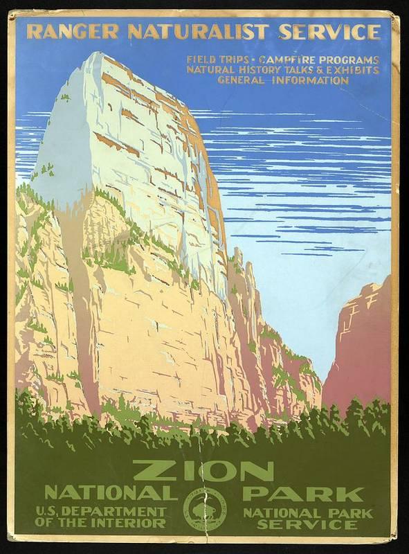 Zion National Park, United States - Ranger Naturalist Service - Retro travel Poster - Vintage Poster by Studio Grafiikka