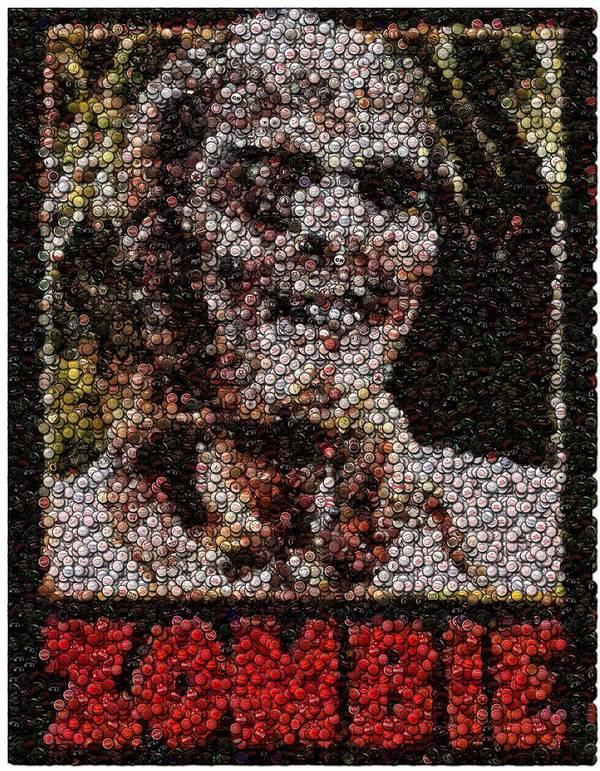 Zombie Poster featuring the digital art Zombie Bottle Cap Mosaic by Paul Van Scott