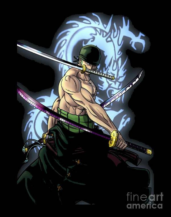 Zoro santoryu one piece poster by aditya sena - One piece logo zoro ...