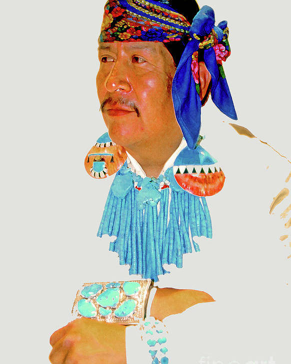 Zuni Poster featuring the photograph Zuni Indian by Linda Parker
