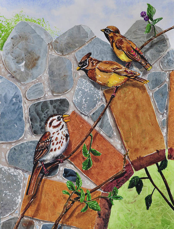 005 Song Sparrow And Cedar Waxwings Poster featuring the painting 005 Song Sparrow And Cedar Waxwings by Charlsie Kelly