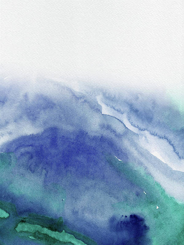 Landscape Poster featuring the painting Abstract Blue Watercolor by Naxart Studio