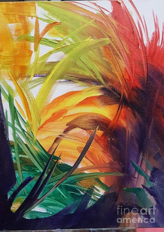 Abstract Poster featuring the painting Bird of Paradise by Barbara Haviland