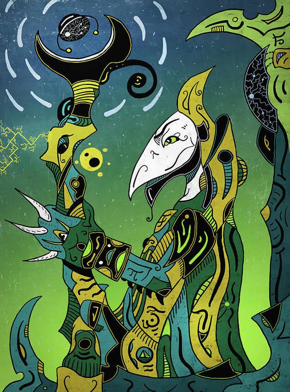 Shaman Poster featuring the digital art Birdman by Sotuland Art
