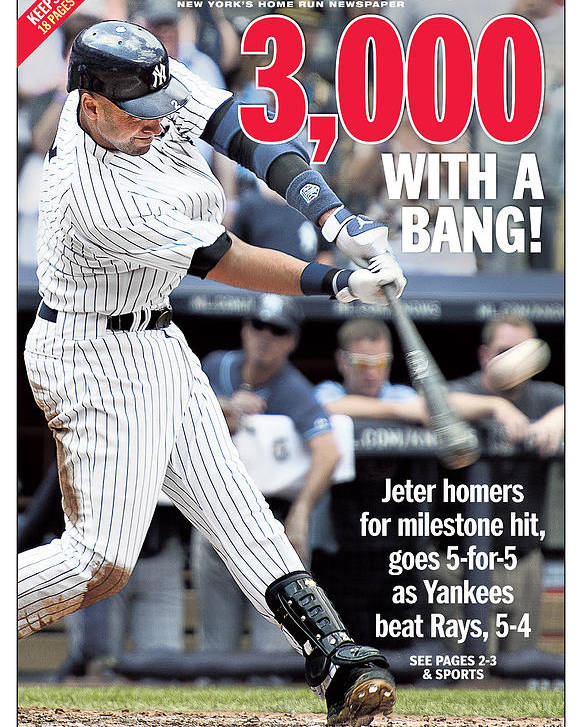 American League Baseball Poster featuring the photograph Daily News Front Page Derek Jeter by New York Daily News
