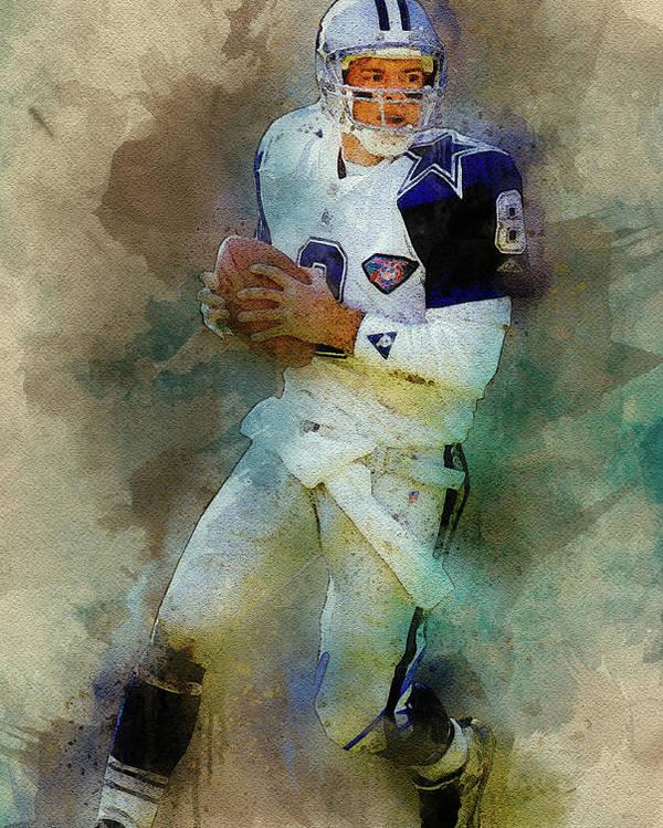 Troy Aikman Poster featuring the digital art Dallas Cowboys.troy Kenneth Aikman by Nadezhda Zhuravleva