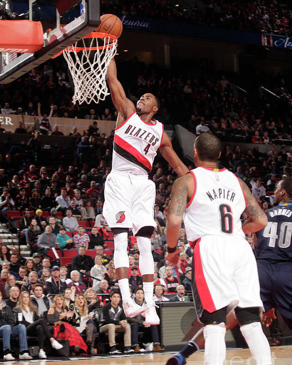 Moe Harkless Poster featuring the photograph Dallas Mavericks V Portland Trail by Cameron Browne