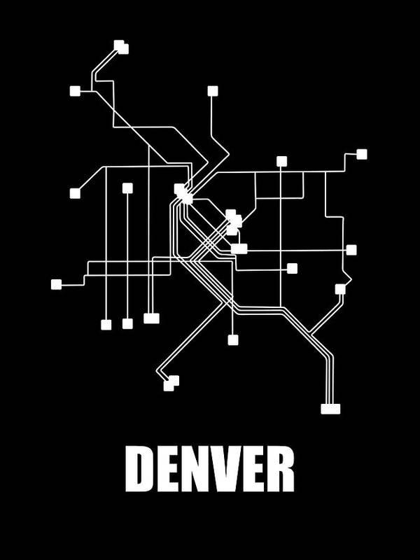 Denver Poster featuring the digital art Denver Black Subway Map by Naxart Studio