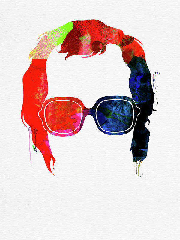 Elton John Poster featuring the mixed media Elton Watercolor by Naxart Studio