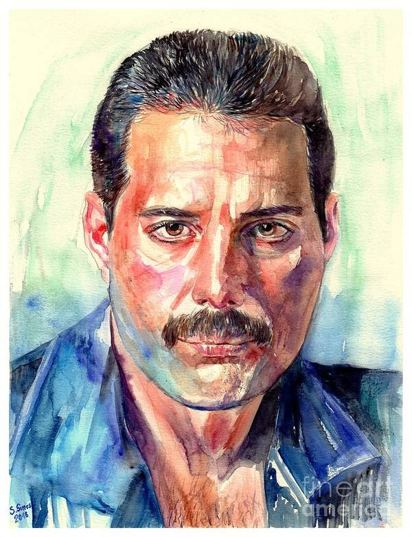 Freddie Poster featuring the painting Freddie Mercury Painting by Suzann Sines