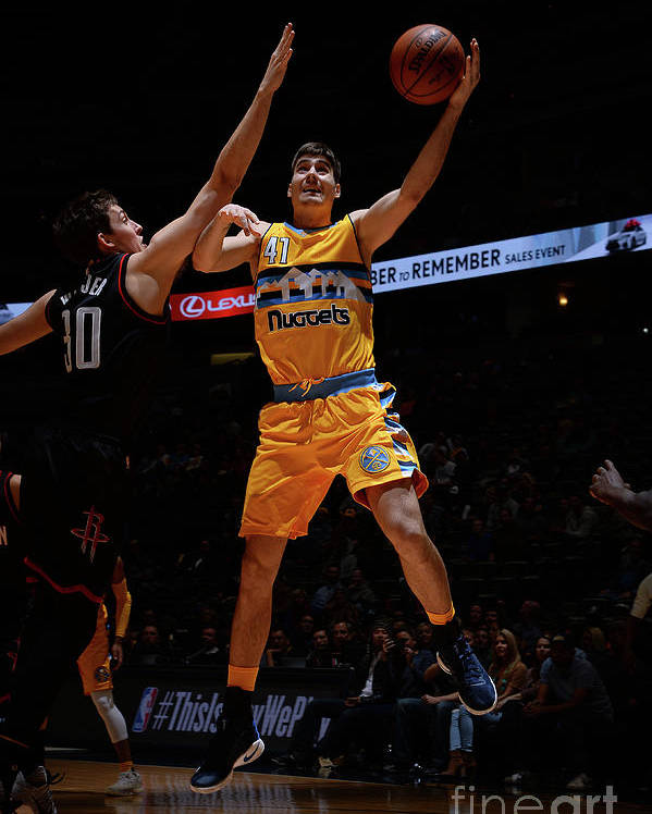 Nba Pro Basketball Poster featuring the photograph Houston Rockets V Denver Nuggets by Bart Young