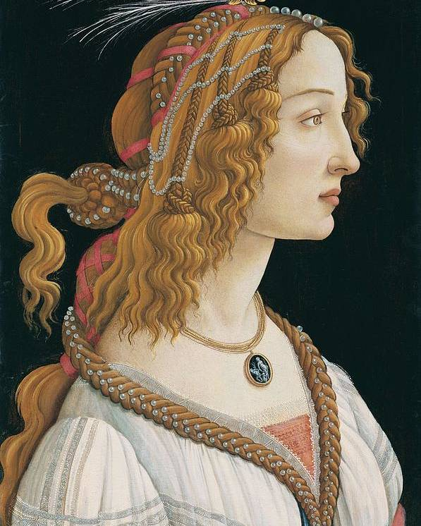 Sandro Botticelli Poster featuring the painting Portrait Of A Young Woman, Portrait Of Simonetta Vespucci As Nymph by Sandro Botticelli