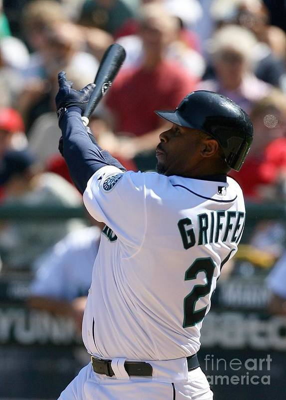 American League Baseball Poster featuring the photograph Ken Griffey Jr. Retires From Seattle by Otto Greule Jr
