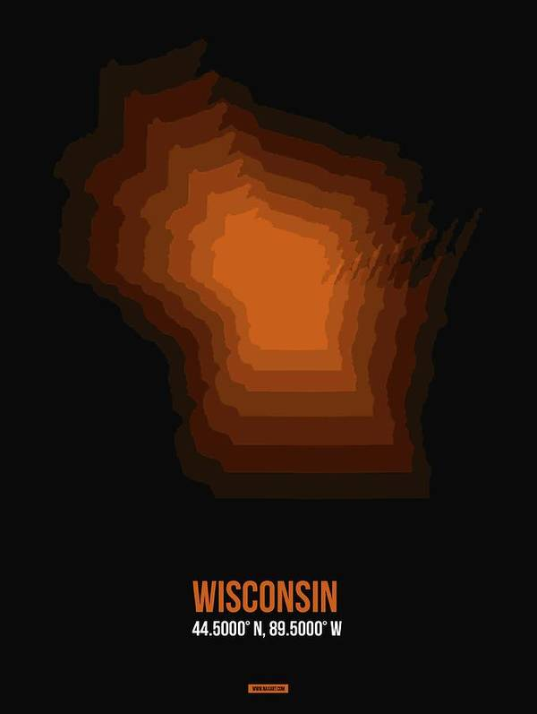 Wisconsin Map Poster featuring the digital art Map Of Wisconsin by Naxart Studio