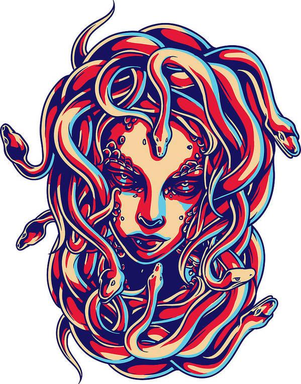 Greek-mythology Poster featuring the digital art Medusa by Passion Loft