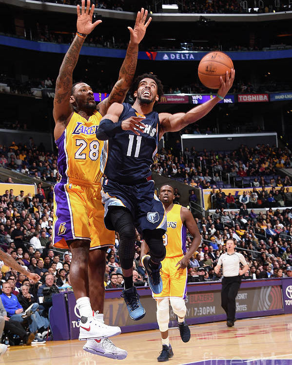 Nba Pro Basketball Poster featuring the photograph Memphis Grizzlies V Los Angeles Lakers by Andrew D. Bernstein