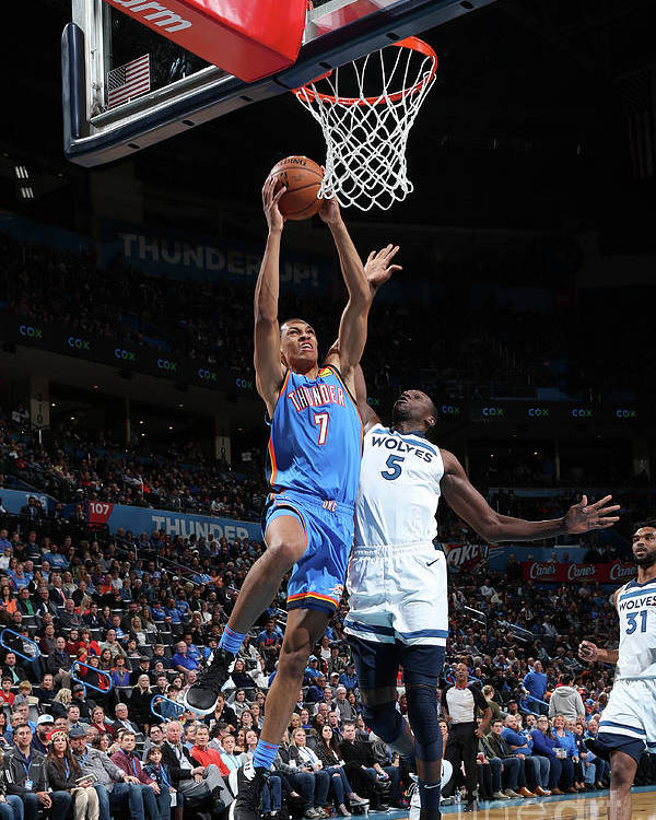 Nba Pro Basketball Poster featuring the photograph Minnesota Timberwolves V Oklahoma City by Zach Beeker