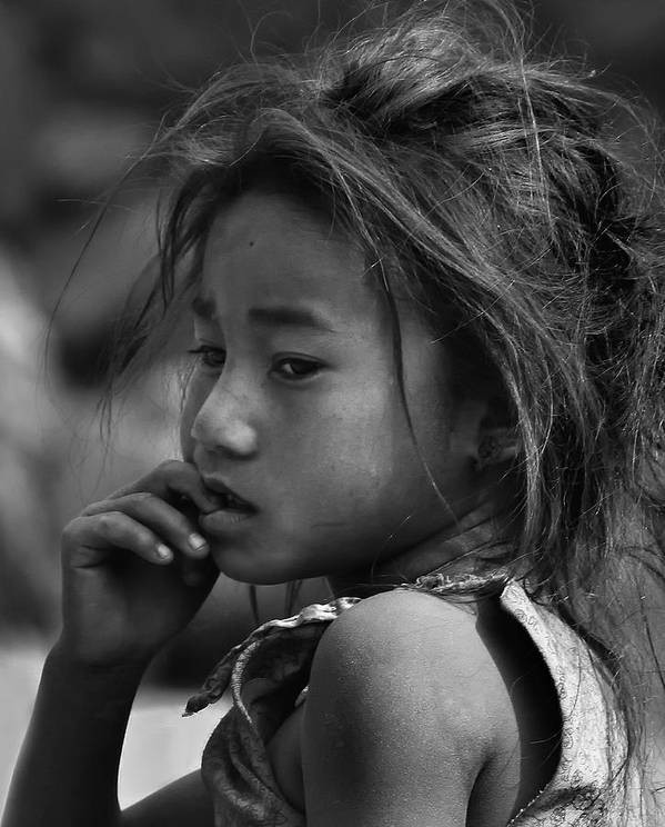 Nepal Poster featuring the photograph Nepal Monochrome Portraits Of Children (series) by Yvette Depaepe
