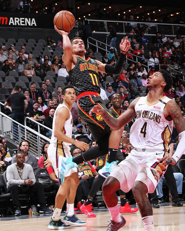 Atlanta Poster featuring the photograph New Orleans Pelicans V Atlanta Hawks by Jasear Thompson