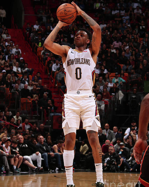 Nba Pro Basketball Poster featuring the photograph New Orleans Pelicans V Miami Heat by Issac Baldizon