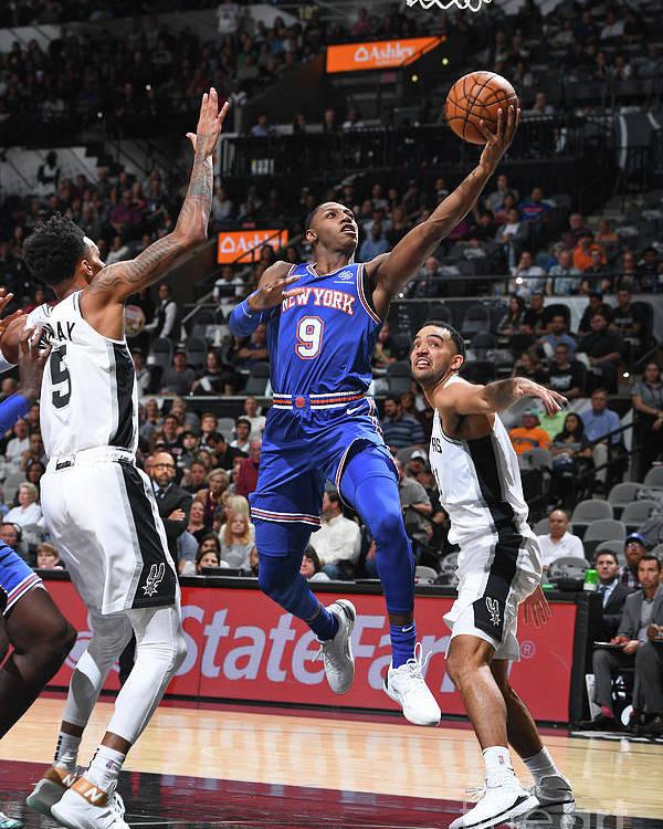 Nba Pro Basketball Poster featuring the photograph New York Knicks V San Antonio Spurs by Garrett Ellwood
