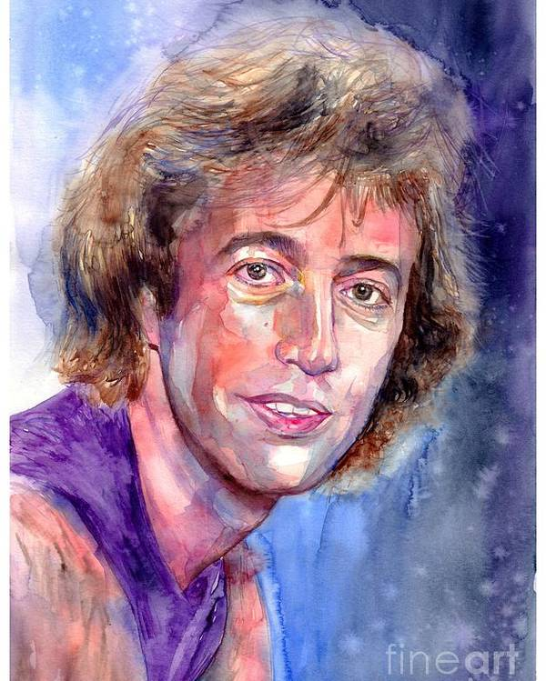Robin Poster featuring the painting Robin Gibb Portrait by Suzann Sines