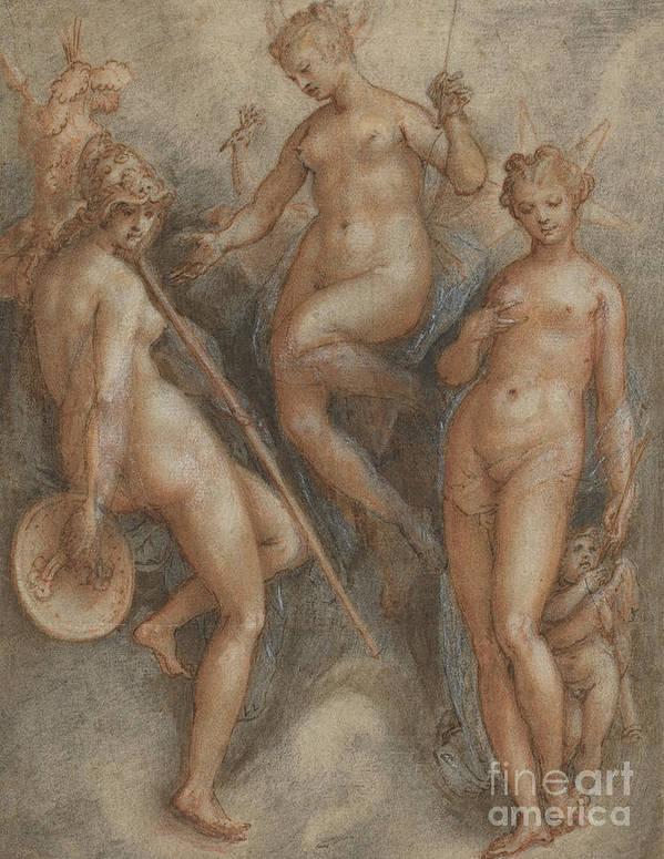Mythology Poster featuring the drawing Three Goddesses Minerva, Juno And Venus by Jan van der Straet