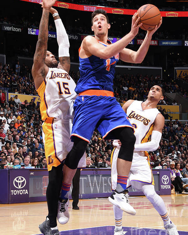 Guillermo Hernangómez Geuer Poster featuring the photograph New York Knicks V Los Angeles Lakers by Andrew D. Bernstein