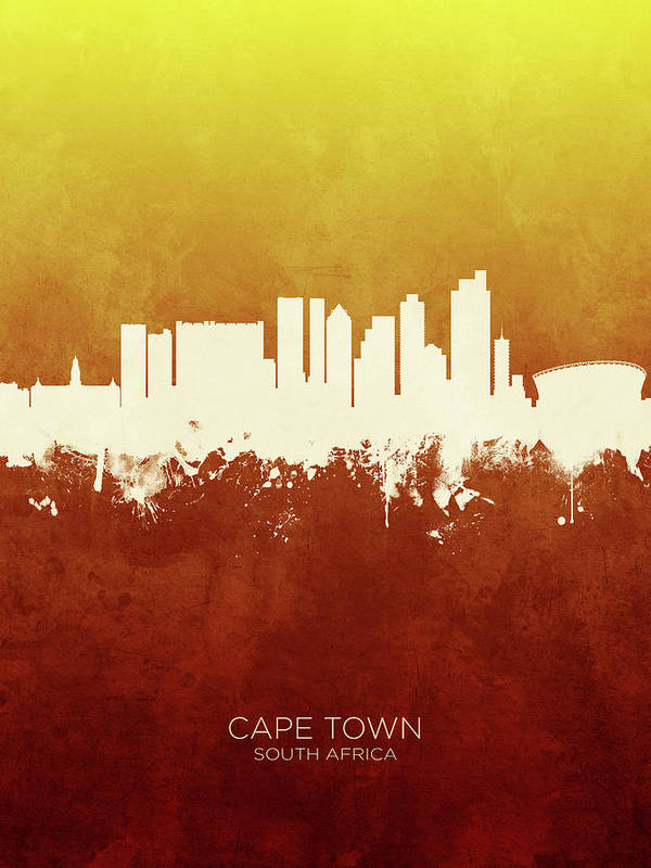 Cape Town Poster featuring the digital art Cape Town South Africa Skyline 11 by Michael Tompsett