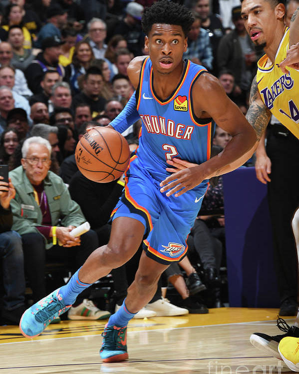 Nba Pro Basketball Poster featuring the photograph Oklahoma City Thunder V Los Angeles by Andrew D. Bernstein