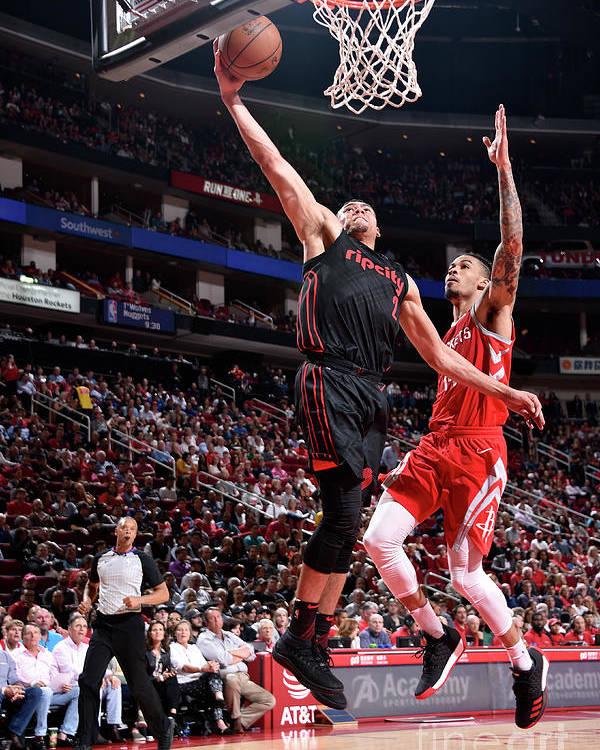 Nba Pro Basketball Poster featuring the photograph Portland Trail Blazers V Houston Rockets by Bill Baptist