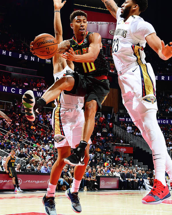 Atlanta Poster featuring the photograph New Orleans Pelicans V Atlanta Hawks by Scott Cunningham