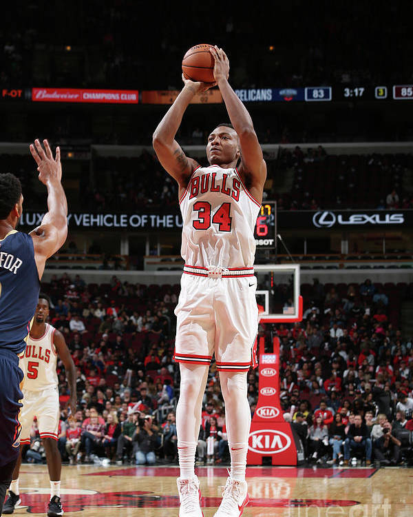 Nba Pro Basketball Poster featuring the photograph New Orleans Pelicans V Chicago Bulls by Gary Dineen