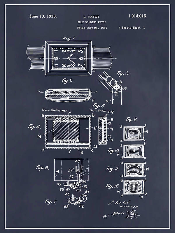 Art & Collectibles Poster featuring the drawing 1930 Leon Hatot Self Winding Watch Patent Print Blackboard by Greg Edwards