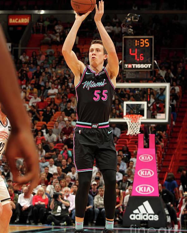 Nba Pro Basketball Poster featuring the photograph Brooklyn Nets V Miami Heat by Oscar Baldizon