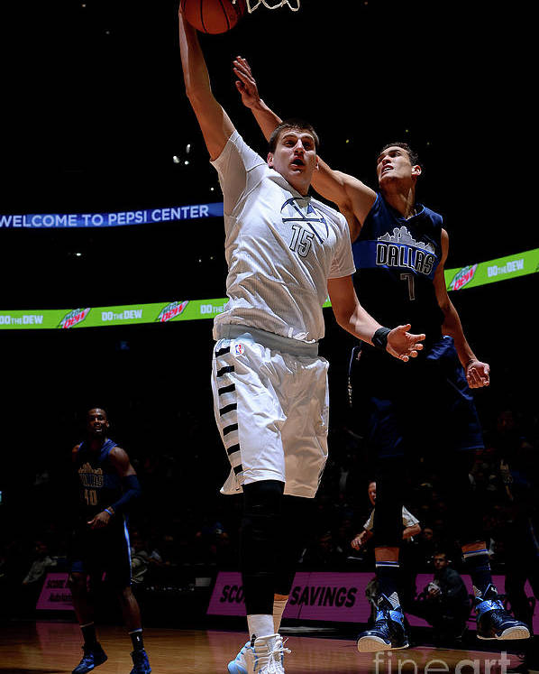 Nba Pro Basketball Poster featuring the photograph Dallas Mavericks V Denver Nuggets by Bart Young