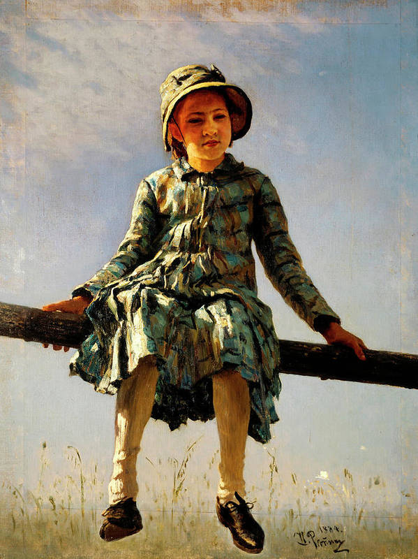 Dragonfly Poster featuring the painting Dragonfly, Painter's Daughter Portrait by Ilya Repin